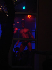 Dancers at HERE 00033 (danimaniacs) Tags: blue red shirtless man hot sexy male guy window pecs nipple candid bare chest dancer here navel abs sixpack