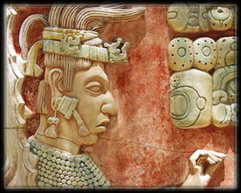 Palenque - Relief de Pacal II,Palenque,Yucatan,Maya