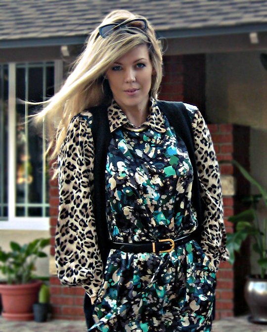 print mixing+leopard print blouse+floral print dress+vest+vintage belt+cat eye sunglasses+long blond hair+blowing wind+og sharp