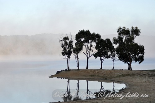 Early morning mist rising at Lysterfield Lake Park