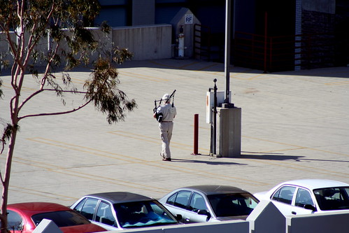 bagpiper on our parking garage