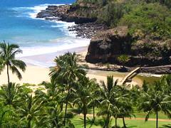 Kaua'i Summer 2006 (jensiuk) Tags: ocean blue trees summer green beach water island hawaii 2006 cliffs palm kauai