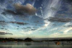 Deben dusk - Woodbridge (wetbicycleclappersoup) Tags: england sky reflection clouds river boat suffolk dusk hdr woodbridge deben