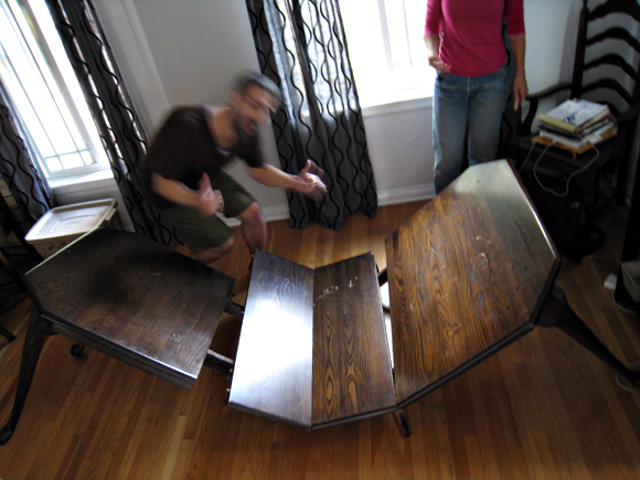 broken dining room table