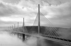 Pont & brouillard - Bridge & fog (Le P'tit Nicolas) Tags: road bridge sky france fog clouds nikon europe route ciel pile nicolas pont nuages a75 millau viaduc 18200mm d90 viaducdemillau fraineau