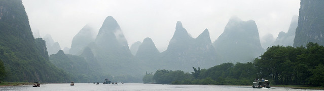 Panorama on the Li River in Guilin