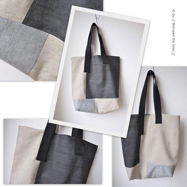 Asymmetric denim with linen bag