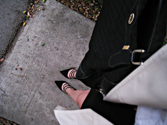 pointed toes heels+heels with buckle straps+vintage gucci bag+leaves