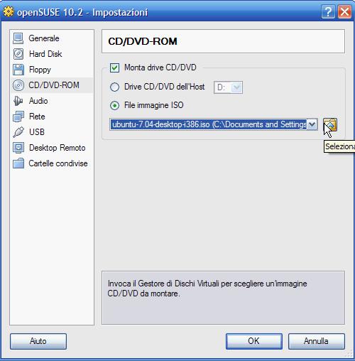 VirtualBox - mount CD/DVD-ROM e pulsante selezione file ISO d'installazione