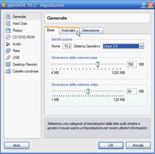 VirtualBox - impostazione dimensione memoria Ram di base e video