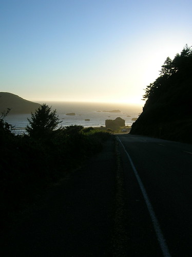 road to the beach at sunset