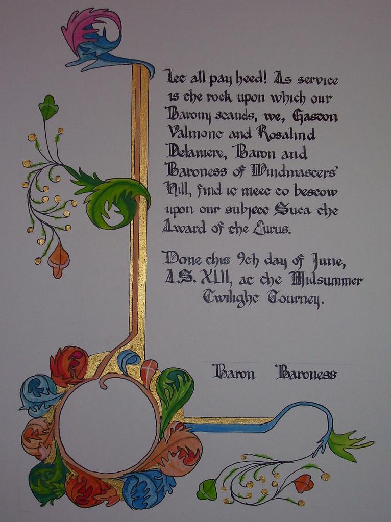 Eurus for Suca. My third attempt at calligraphy. Illumination by Lady Tessa de Spina.