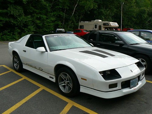 A white Chevy Camaro IROC-Z28, probably 1985/86 model year