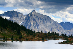 Mount Lancaster (storm light) Tags: mountain lake canada clouds bc rockymountains stormlight italiangroup frontranges limestonelake heightoftherockiesprovincialpark mountlancaster