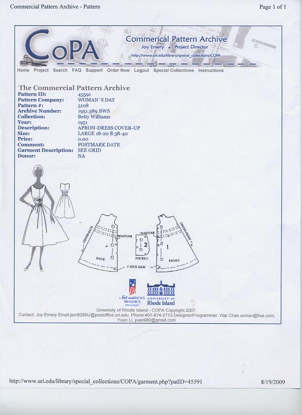 COPA Woman's day apron dress pattern
