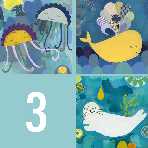 set of 3 sea animals