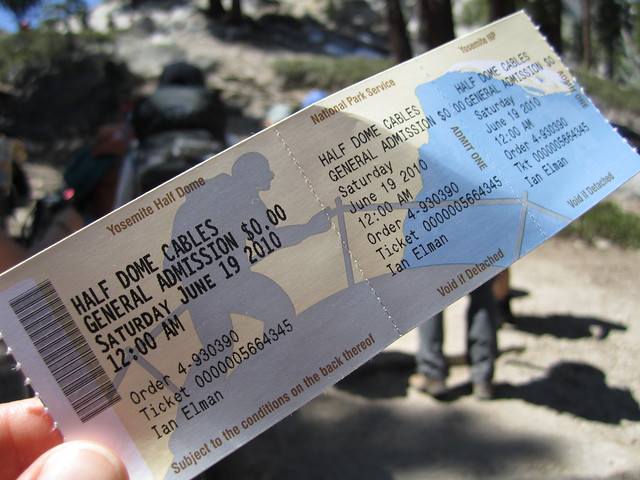 A permit required to hike the Half Dome cable route in 2010. Photo by Amanda Dague.