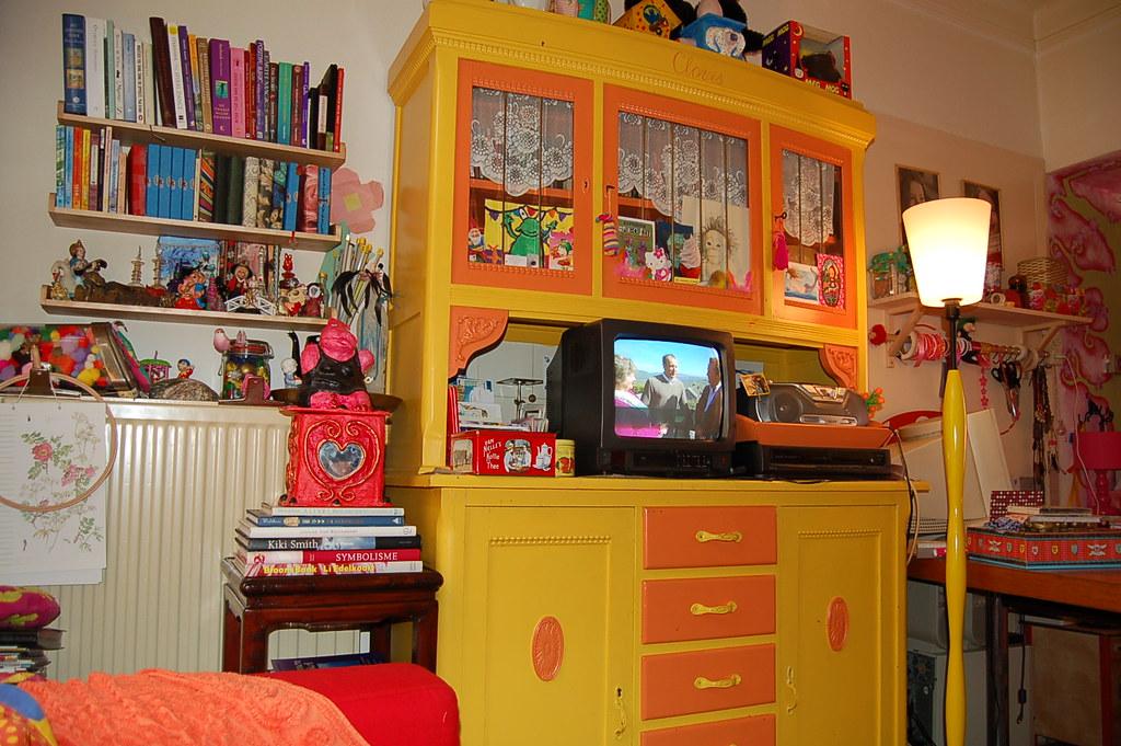 Watching tv in my studio
