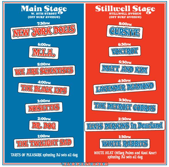 Siren Festival 2007 Schedule