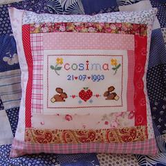 Cosimas Geburtstags Kissen - Cosimas Birthday Pillow (*Dollily*) Tags: crossstitch july juli patchwork 2007 cosima fourteen vierzehn kreuzstich 14birthday 14geburtstag