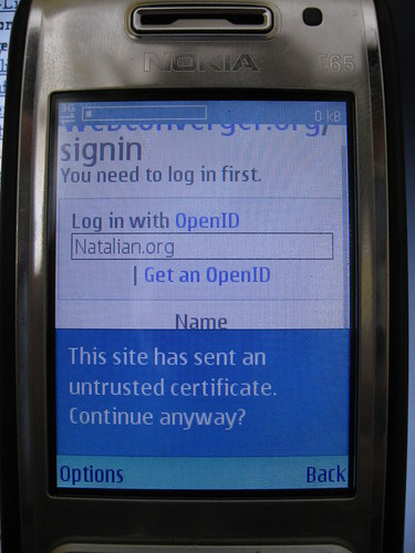 Cert check on Nokia Web browser