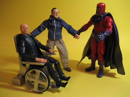 Professor X, Stan Lee and Magneto