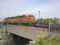 BNSF Railway transfer train entering the IHB Argo Yard. Summit Illinois USA. June 2007.