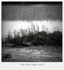 Postcard from the Interior - Idaho Falls (Auntie K) Tags: travel blackandwhite usa nature river waterfall roadtrip holgaesque auntiek idahofallsidaho kathymackey