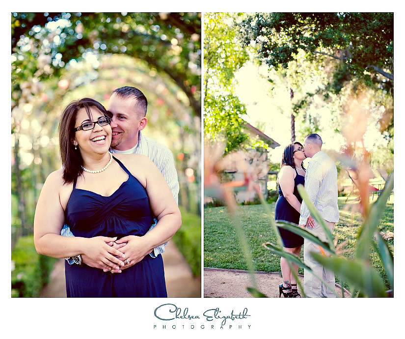 Westlake Village Inn Rose Garden engagement portrait