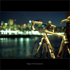 Night Cycling -  (Ziyan | Photography) Tags: canada bike night canon 50mm quebec bokeh montreal 5d usm    ef   ziyan   50l f12l  canonef50mmf12lusm  bokehhearts saariysqualitypictures