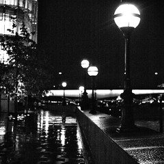 Night (ant_sk) Tags: street bw white black reflection rain square 50mm lights olympus om f18 puddles zuiko northbank e510