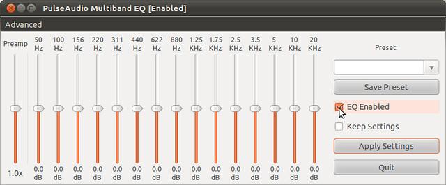 Figura 3 - Attivazione PulseAudio Equalizer, l'audio improvvisamente sale al massimo;