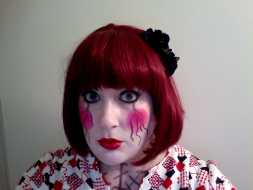 doll costume makeup. Deranged-doll-weirdo-mime-