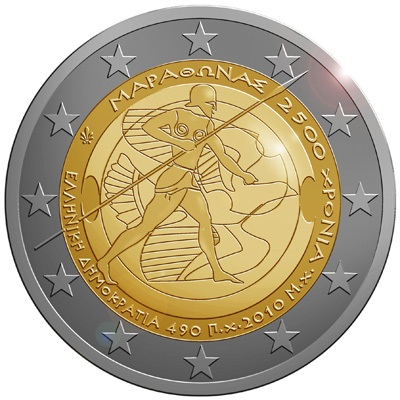 2 Euro Grécko 2010, 2500. výročie bitky pri Maratóne