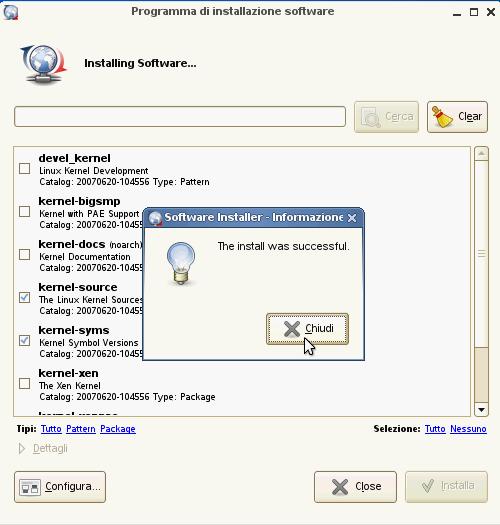 VirtualBox - Guest Additions - SUSE: installazione moduli kernel completata