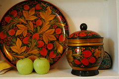 Russian lacquerware and two green wax apples, Crown Hill, Seattle, Washington, USA