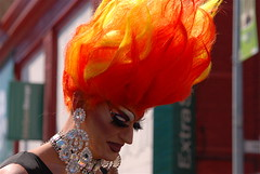 Grrl, you're on fire! (funston) Tags: bighair gaudy dragqueen sanfranciscoca sfchronicle96hrs folsomstreetfair2007