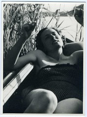 Snapshot: Prewar Germany---Langourous Woman In A Rowboat (mrwaterslide) Tags: old vintage germany relax found play antique german oldphoto vernacular avoid deny repress