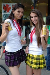 """Beverage """"School Girls"""" (austinhk) Tags: street school girls woman canada color colour sexy girl beautiful smile saint smiling austin pose outfit women colorful montral legs quebec drink weekend montreal beverage models skirt f1 crescent grandprix catherine formulaone qubec babes attractive formula fans colourful cheerleader tight schoolgirl formula1 miniskirt bruneete stcatherine skirts 2010 saintcatherine crescentstreet f1grandprix stcatherinestreet crescentst schoolgirloutfit austinhk canadiangrandprix grandprixofcanada f1grandprixcanada formulaonegrandprixofcanada"""