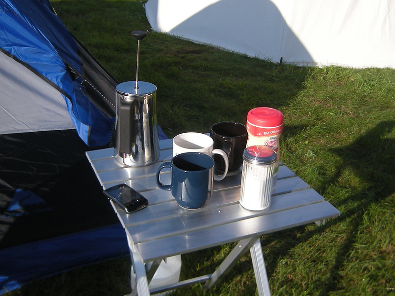 Camping Coffee Setup on a small table