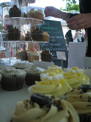 Our cupcakes at the Manchester Real Food Markets in Piccadilly Gardens