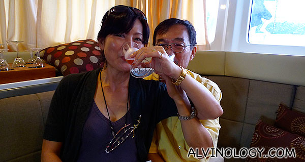 My uncle and aunt enjoying the champagne