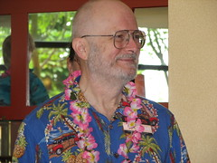 Vernor Vinge in a Hawaiin shirt