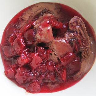 Sour cherry preserves over chocolate ice cream