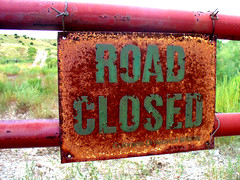 Road Closed (Icky Pic) Tags: road sign rust colorado closed wildlife rusty division