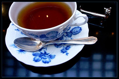 Tea time with a silver cat (Marie Eve K.A. (Away)) Tags: blue white cup cat silver tea spoon teacup teatime afternoontea blueflower elegance   silverspoon   richardginori anawesomeshot ultimateshot diamondclassphotographer flickrdiamond thatsclassy
