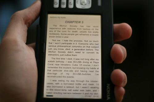 A Nokia 770 displays text from a book really nicely.