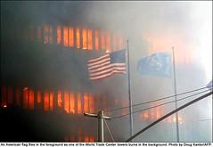 US-ATTACKS-FLAG (justme1226) Tags: ny newyork fire unitedstates crash destruction flag terrorism hijacking