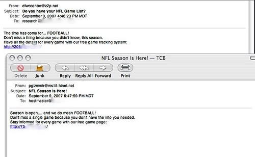 Storm-drvien NFL Tracker Spam Emails