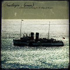 Nostalgia (The Paddle Steamer SS Waverley) - The Dictionary of Image (s0ulsurfing) Tags: ocean light sea sunlight seascape art water silhouette ferry illustration photoshop vintage island bay design coast graphicdesign boat words artwork ship graphic bright image artistic flag pirates text crea